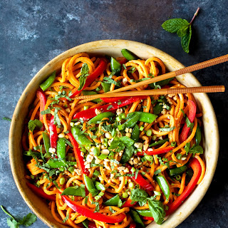 Thai Infused Sweet Potato Stir Fry with Spicy Peanut Sauce Recipe