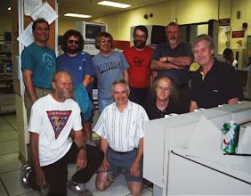 Photo: George Lindholm, Peter Madderom, Dave Brent, Alan Ballard, John Hogg, Paul Whaley, Jeff Berryman, Ralph Austin Sayle, and Ron Hall