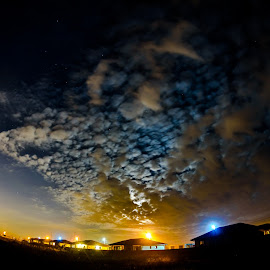Night sky by Sly S - Landscapes Cloud Formations ( clouds, orange, moon, sky, nature, blue, weather, night, moonlight, noperson )