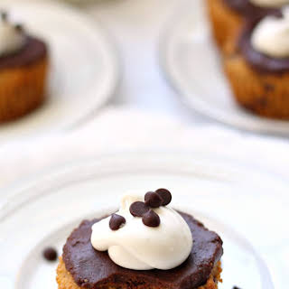 Paleo Chocolate Chip Cookie Cupcakes with Fudge Frosting.