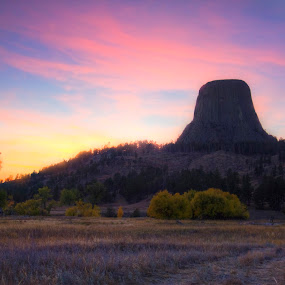 Devil's Tower Sunset by Evan Ludes - Landscapes Caves & Formations ( tower, silhouette, national, sunset, wyoming, cirrus, pink, monument, devil's, landscape )