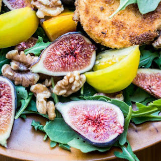 Fig and Fried Goat Cheese Salad with Spicy Nectarine Vinaigrete