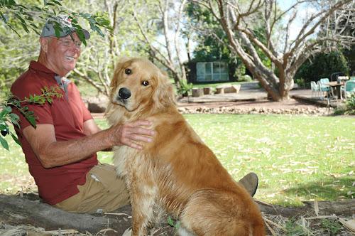 Clinton Freer and Coho at the Freer garden at 'Greenbah'.