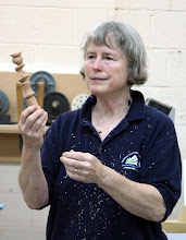 Photo: Barbara shows an example of some of the shapes that can be obtained with multiple axes.