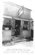 Photo: Izma May (WESTABY) LELAND and her mother Rebecca Catherine (SNOOK) WESTABY in front of Izma's store in Seattle, Washington.  Appears to be the late 1920s.  Scan of an original photo in the possession of Troy MIDKIFF, Vancouver, Washington, 2007.