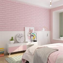 Set 5 x Tapet adeziv caramizi, 77 x 70 cm, spuma moale 3D, Roz Deschis