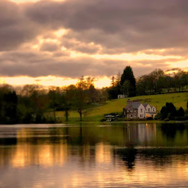 Sunset on Slipper Hill Reservoir by Graham Denney - Landscapes Waterscapes ( water lake sunset reflection house country britain reservoir,  )