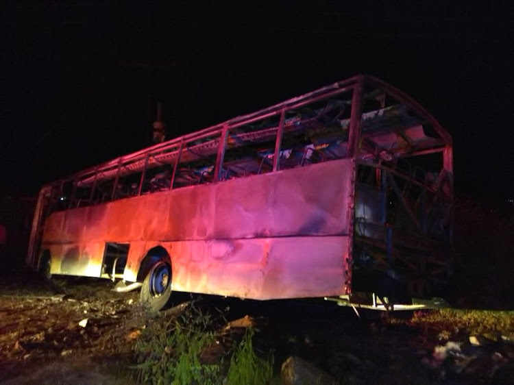 Torched bus that left six people dead and others injured.