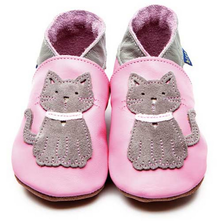 Inch Blue Soft Sole Leather Shoes - Meeow Baby Pink (6-12 months) by Berry Wonderful