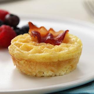 Cheesy Eggs & Bacon on Mini Waffles