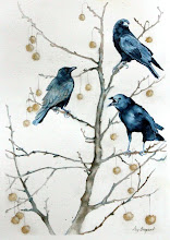 "Photo: Conversation in a Sycamore Tree.  watercolor.  18""x24"""
