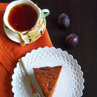 Pudding Cake of Honey, Cinnamon, and Plums
