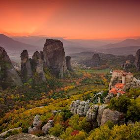 Meteora Sunset by George Papapostolou - Landscapes Mountains & Hills ( hellas, mountains, autumn, meteora, thessaly, sunset, greece, trikala, kalampaka, landscape, nikon, nikon d7000 )