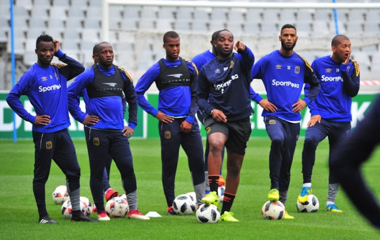 Benni McCarthy (Head Coach) with players during the Cape Town City FC media open day at Cape Town Stadium on March 13, 2018 in Cape Town.