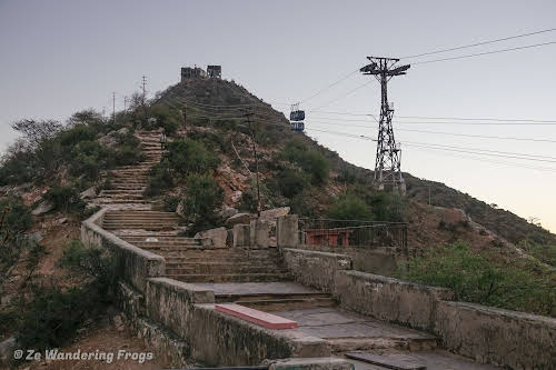 India. Rajasthan Pushkar . Steps and Ropeway to Savatri Mata Temple