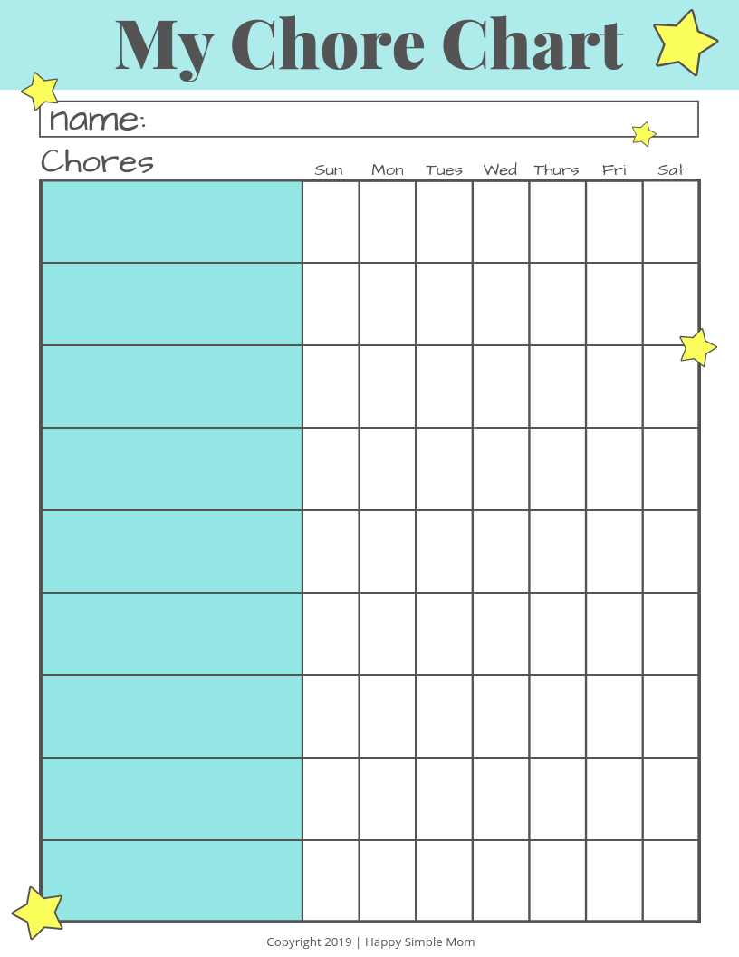 Chore Chart Printable Freebie