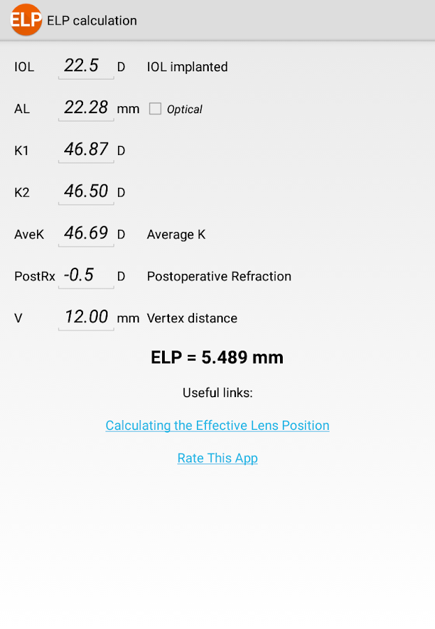 ELP Calculation /Ophthalmology- screenshot