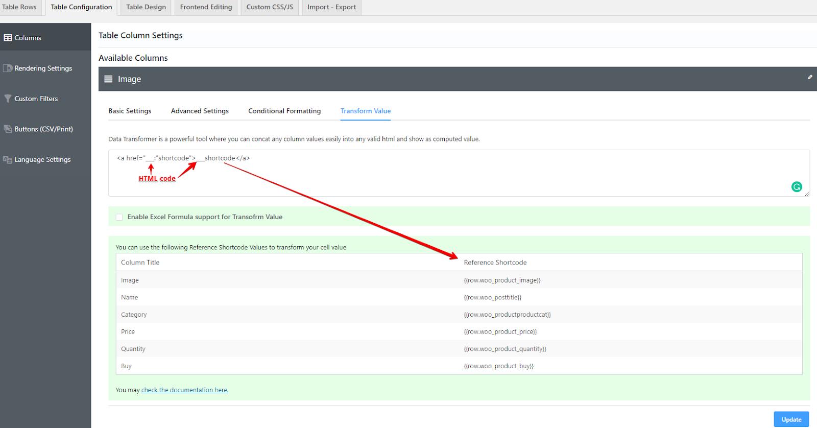 Customizing WooCommerce product table