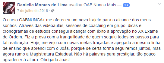 Aprovada OAB Nunca Mais - Daniella Moraes