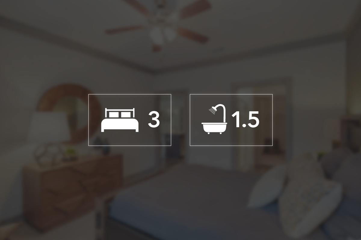 Three bedroom townhouse floorplan 3 bed 1 5 bath - 3 bedroom apartments kansas city ...