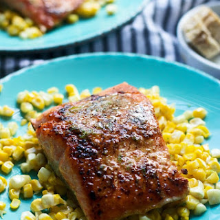 Seared Salmon with Chipotle Honey Lime Butter.