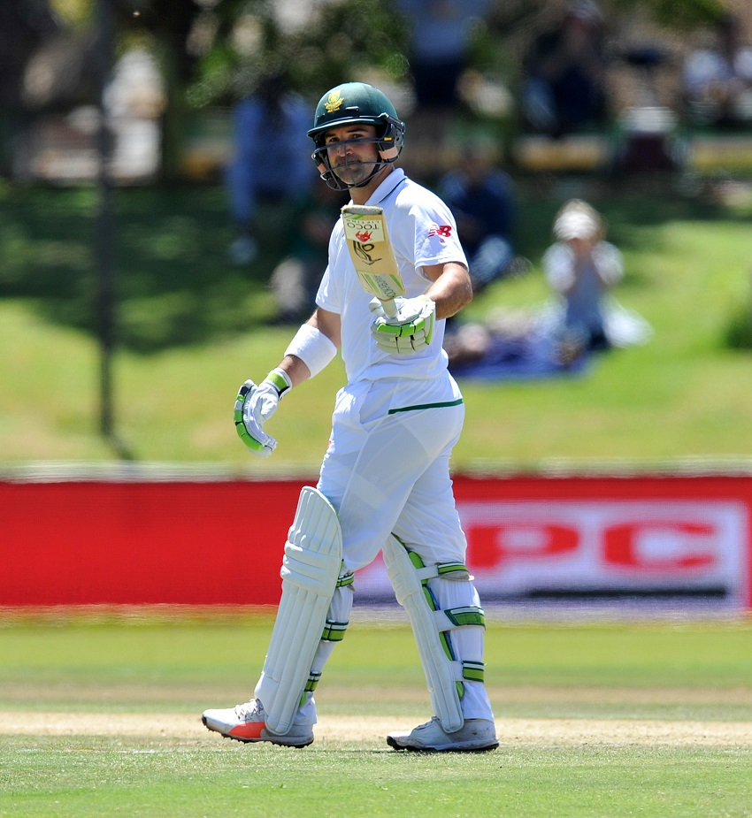 Dean Elgar of South Africa raises a bat after reaching 50 runs during 2017 2nd Test Series cricket match between South Africa and Bangladesh at Managing Oval in Bloemfontein on 06 October 2017.