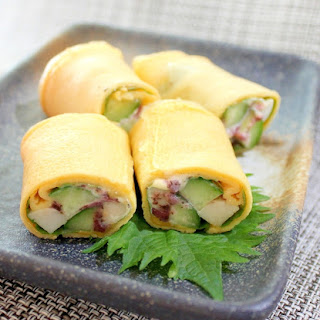 Japanese Omelette Stuffed with Cheese Fish Cake and Cucumbers