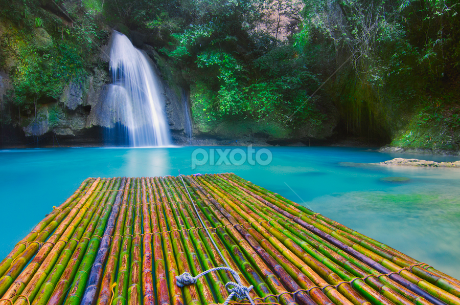 Bamboo Raft by Ram Suson - Transportation Other ( waterfalls, falls, traditional, transportation, raft, bamboo raft )