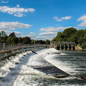 Boulter's Lock and Ray Mill Island by Tony Ripacandida - Buildings & Architecture Bridges & Suspended Structures ( weir, thames, white water, clouds, water )