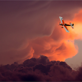 Model Airplane by Hannes Kruger - Transportation Airplanes ( clouds, model, fly, sunset, airplane )