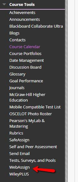Course Menu WebAssign