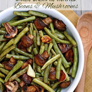 Balsamic Garlic Roasted Green Beans & Mushrooms.