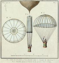 Photo: Le premier parachute de Jacques Garnerin, essayé par lui-même le 22 octobre 1797 au Parc Monceau