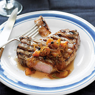 Grilled Pork Chops with Brown-sugar Brine and Onion-Peach Marmalade