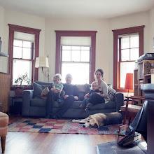 Photo: title: Jody Burr, Andrew, Eamon & Mazie Innes, Roslindale, MA date: 2011 relationship: friends, art, met through Morgan Cohen years known: Jody, 15-20, Andrew, 0-5