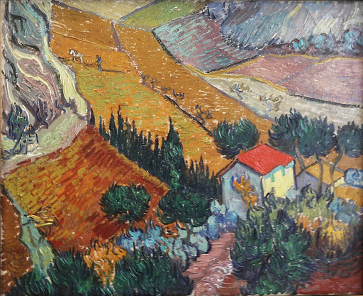 "van-gogh-landscape-with-house-and-ploughman.jpg -  Vincent van Gogh, ""Landscape With House and Ploughman,"" 1889, oil on canvas, at the Hermitage at St. Petersburg, Russia."