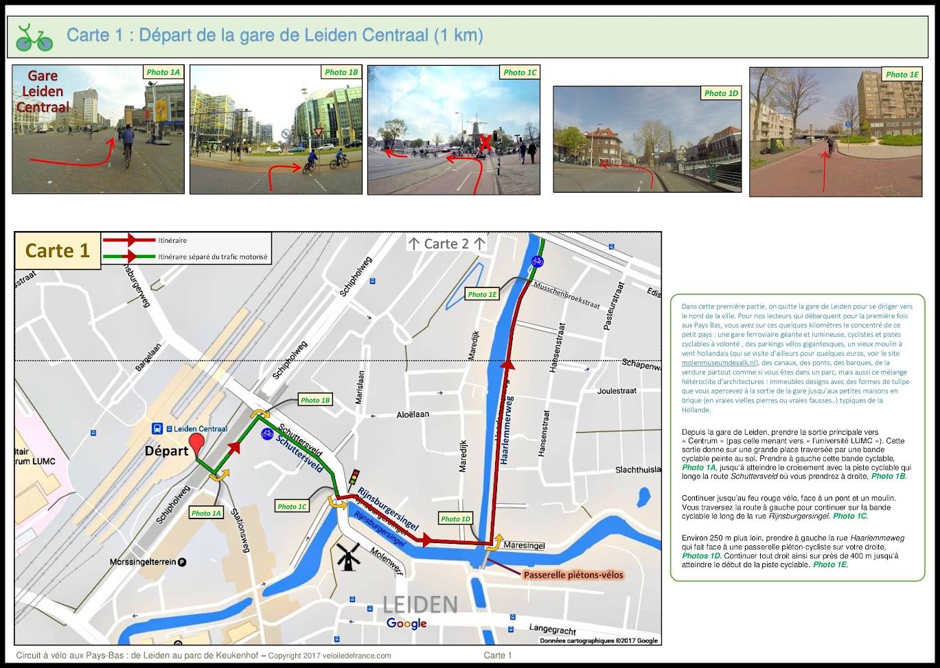 Carte 1 - Circuit à vélo aux Pays-Bas de Leiden au Parc de Keukenhof par veloiledefrance.com