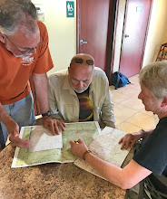 Photo: Monday, August 21, 2017: Dave showing Larry & Marilyn where we will meet to view the eclipse. (Larry's photo)