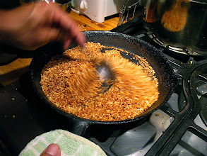 Photo: toasting rice for grilled pork lahb