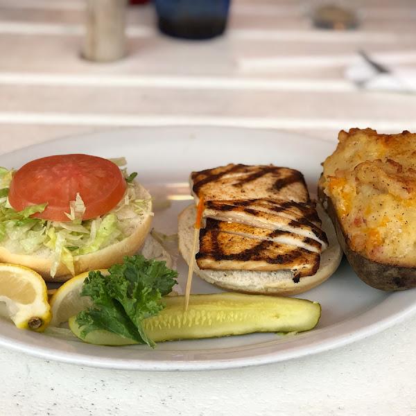 GF grilled amberjack sandwich with twice baked potato