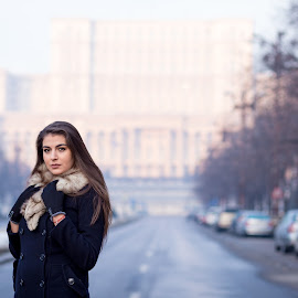 on the street  by Irina Ciurla - People Portraits of Women ( model, bucharest, beautiful, morning, palace of the parliament )