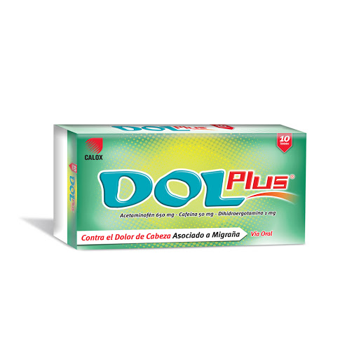 Acetaminofen + Cafeina + Dihidroergotamina Dol Plus 650/50/1mg x 10 Tabletas Calox