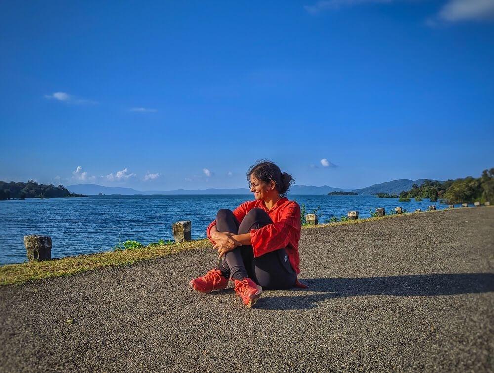 sitting at the kali river backwaters in dandeli