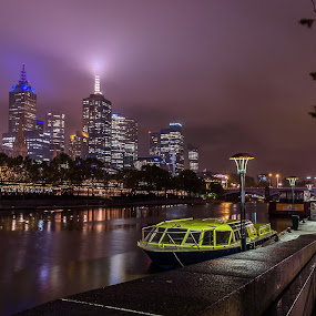 Yarra River, Melbourne, Victoria, Australia by Linda Brown - City,  Street & Park  Night