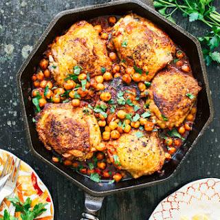 Pan Seared Chicken with Harissa Chickpeas