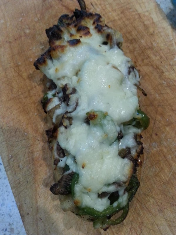broil in oven until the cheese starts to brown and gets all bubbly, melty...