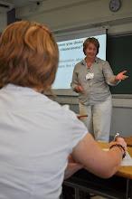 Photo: Priscilla Stroud (teacher, Buena Vista Concordia International School, Shenzhen) speaking during a breakout session.