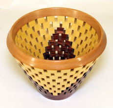 "Photo: Bob Grudberg "" open segmented bowl [yellowheart, walnut, and sycamore]"