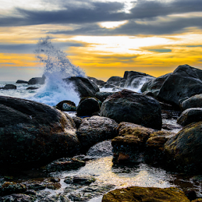 Water spash by Mahul Mukherjee - Nature Up Close Water ( sea beach, sky, sunset, wave, sea, cloud, rock, boulder, evening, water splash )
