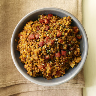 Warm Lentil Salad with Pancetta, Tomato and Rosemary.